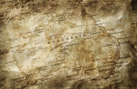 country style: Old map of Australia