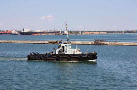 Tugboat: tugboat at port Stock Photo