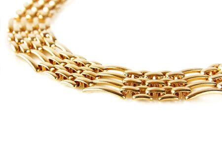 bracelet: golden chain isolated Stock Photo
