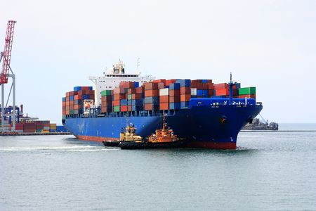vessels: container ship Stock Photo