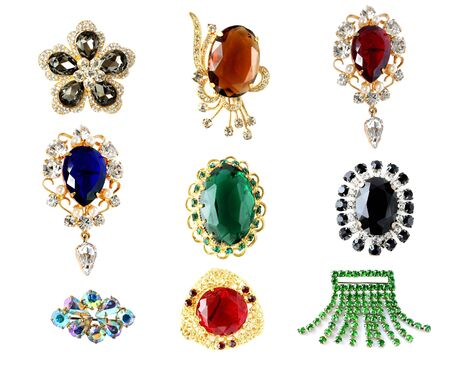 collection of vintage brooches photo