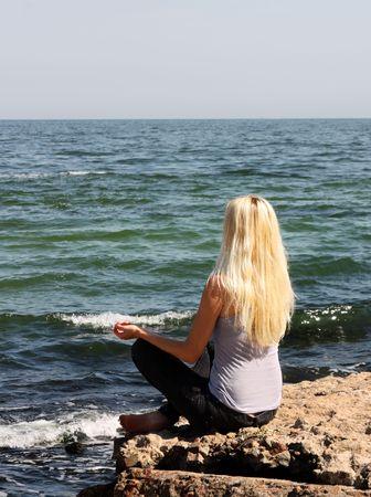 meditation near the sea photo
