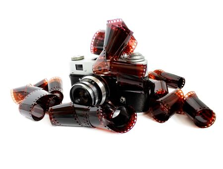 vintage camera and films Stock Photo