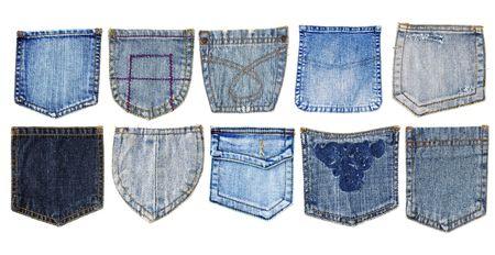denim: bolsillos de pantalones diez vaqueros aislado  Foto de archivo