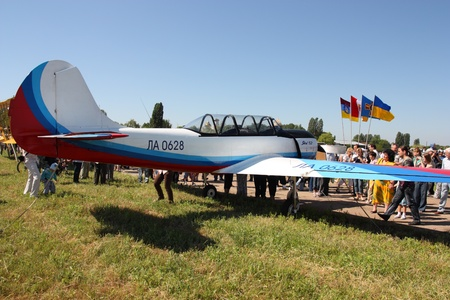 Odessa,Ukraine - May 27,2011 : Plane YAK 52 on Air Show devoted the 100th anniversary of Odesaviaremservice. Stock Photo - 9644180