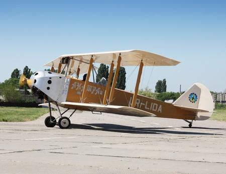 propel: ODESSA,UKRAINE - MAY 27, 2011: Bi-plane Anatra Anasal UR-LIDA on Air Show devoted the 100th anniversary of Odesaviaremservice.