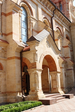exterior of modern catholic church photo