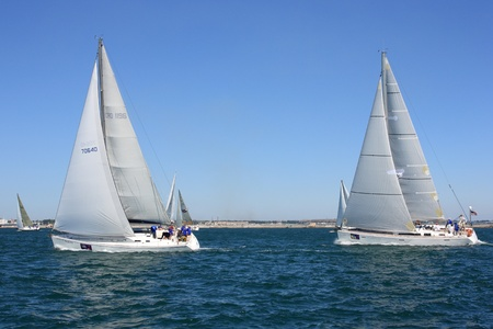 "dated: Odessa, Ukraine – August 24,2011: All-Ukrainian sailing regatta of cruiser sailing yachts ""Black Sea Cup"", dated for Ukraine's Independence Day ."