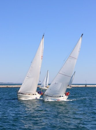 "yacht race: Odessa, Ukraine – August 24,2011: All-Ukrainian sailing regatta of cruiser sailing yachts ""Black Sea Cup"", dated for Ukraine's Independence Day ."
