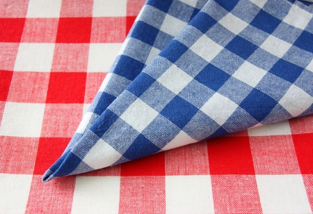 The checkered tablecloth red white blue  photo