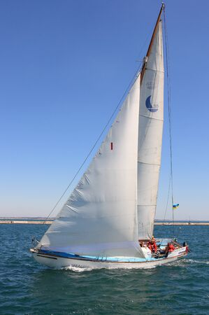 "Odessa,Ukraine-August 24,2011:All-Ukrainian sailing regatta of cruiser sailing yachts ""Black Sea Cup"",competition devoted to Ukraine's Independence Day,annual event."