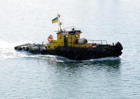 Tugboat: tugboat at speed Stock Photo