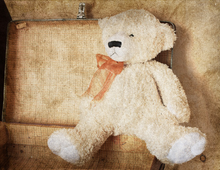 overuse: Vintage-style teddy bear and old suitcase