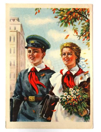 pioneers: USSR-circa 1955 : Soviet postcard shows soviet pioneers walking to school Editorial