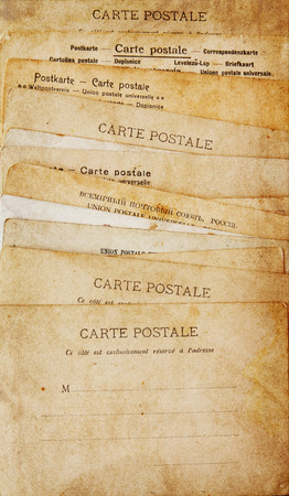 post cards: rear view of ancient post cards Stock Photo