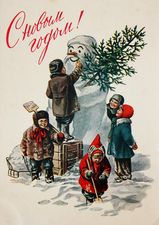 USSR - circa 1960s: Soviet postcard for Christmas and New year, text in russian : Happy new year !