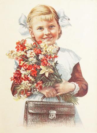 USSR-circa  1960s: Soviet postcard shows soviet pupil