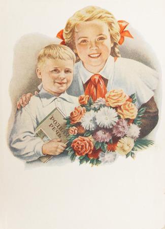 USSR-circa  1960s: Soviet postcard shows soviet pioneers