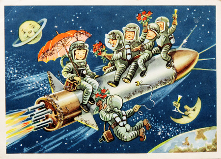 astronautics: DDR-circa 60s : German postcard shows group of astronauts on  space rocket