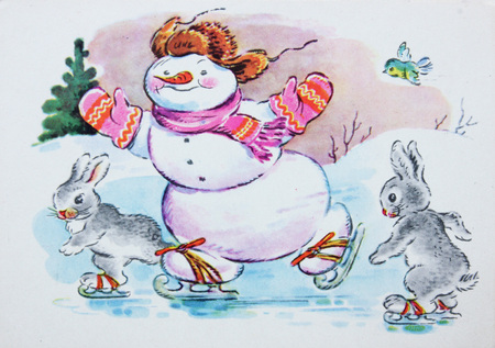 USSR-circa 1950s: Soviet postcard for Christmas and New Year shows  snowman Editorial