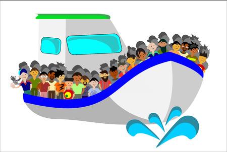 kleines Boot voll von Migranten nach Europa reisen Vektorgrafik
