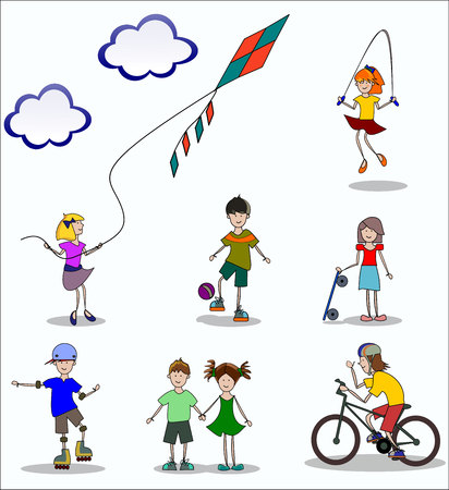 children at play: children play and do sports in summer