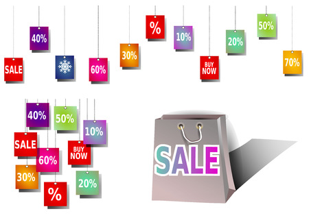 colourful sale banner, sale shopping bag