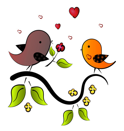 song bird: bird sings a love song. bird present a flower to beloved