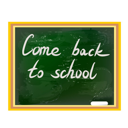 come back: written by hand inscription come back to school on a green blackboard