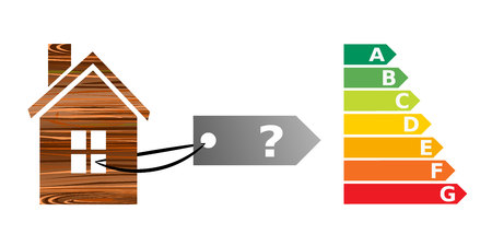 energy performance certificate: a wooden house with energy performance certificate. energy efficiency and home concepts Illustration