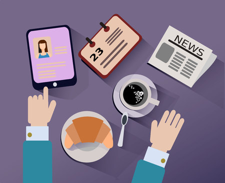 cuff links: Desktop breakfast to start the day. Business lunch