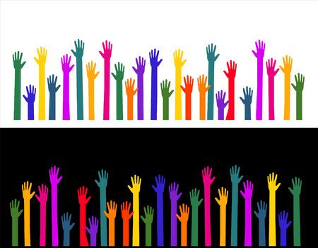 multiplicity: Many colorful hands work together Illustration