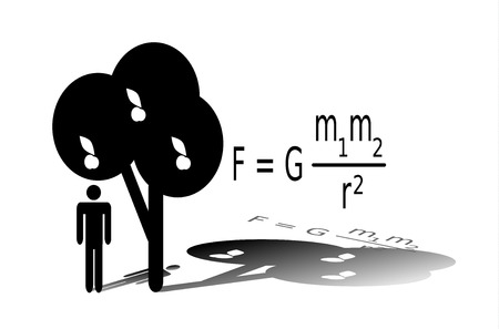 Silhouette of Isaac Newton standing under an apple tree. Newtons law of universal gravitation