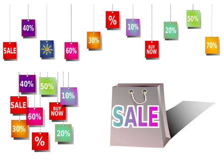 favorable: colorful sale banner, sale shopping bag