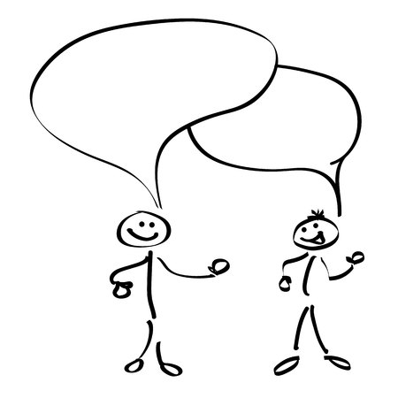 communicating: Stickman communicating with each other (black and white colors)