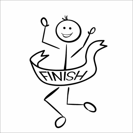 runner up: Stickman crossing the finish line as a winner. Happy end!