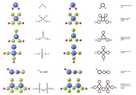 Molecules of Thiocyanic acid, Disulfuric acid (Pyrosulfuric acid, Oleum), Sulfurous (Sulphurous) acid, Hydrogen sulfide, Sulfuric (Sulphuric) acid, Thiosulfuric acid
