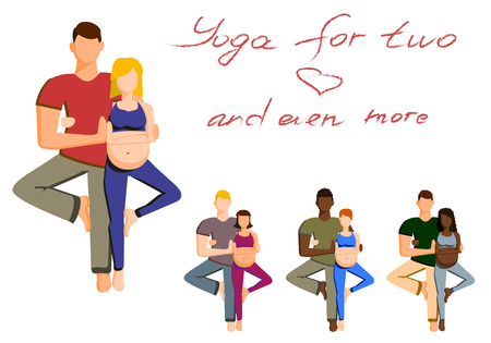 pregnancy exercise: pregnant woman and her partner doing yoga together. yoga for two. yoga with partner. preparing for childbirth