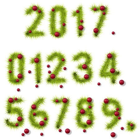 six point: Collection of vector numbers decorated with pine branches and red balls