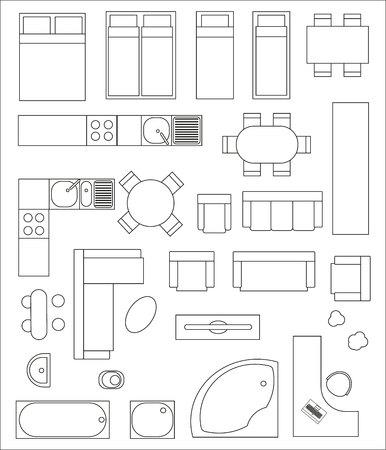 Set di top vista interna. Diverse varianti di mobili per appartamenti