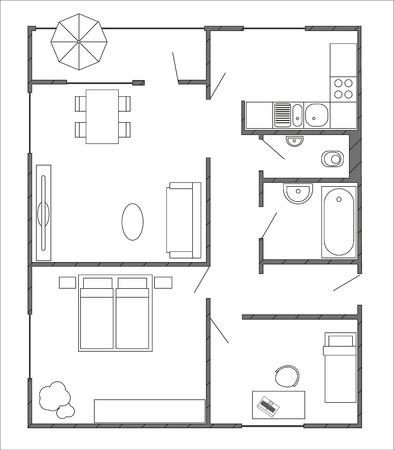plan d'architecture avec des meubles en vue de dessus de 3-pièces avec balcon. Les intérieurs modernes Vecteurs