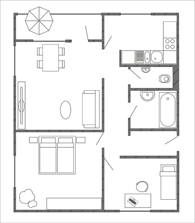 Architecture plan with furniture in top view of 3-rooms apartment with balcony. Modern interiors Illustration