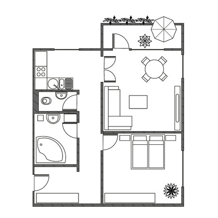 modern interiors: Architecture plan with furniture in top view of 2-rooms apartment with balcony. Modern interiors