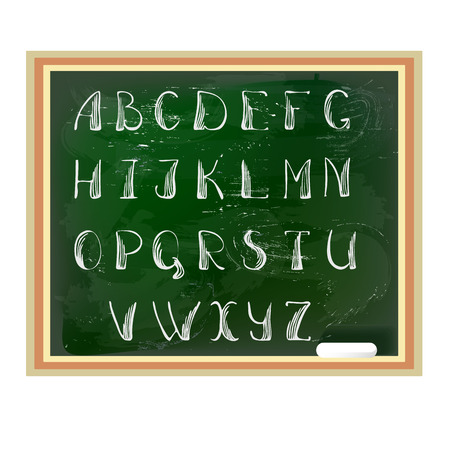 By hand written english ABC. Alphabet on a green blackboard