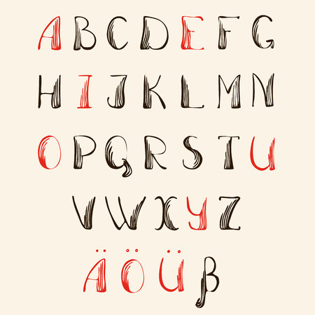 Vector of german Alphabet. By hand written ABC