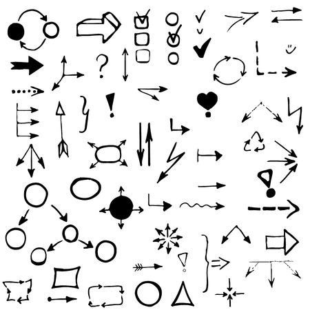 set of hand drawing business diagram (network). Collection of different arrows, polyhedrons, interrogation and exclamation mark