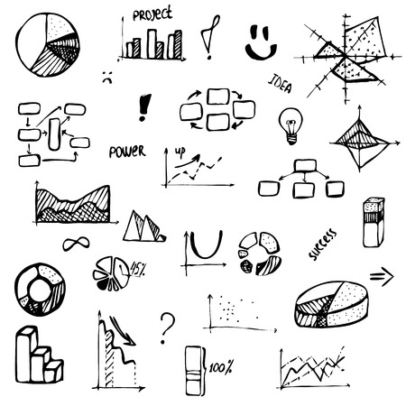set of hand drawing business diagram (histogram, pie chart, graph of a function, scatter plot, network and block diagrams, radar chart) with words success, project, idea, power Ilustração