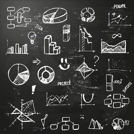 Set Der Handzeichnung Geschäftsdiagramm (Histogramm, Kreisdiagramm ...