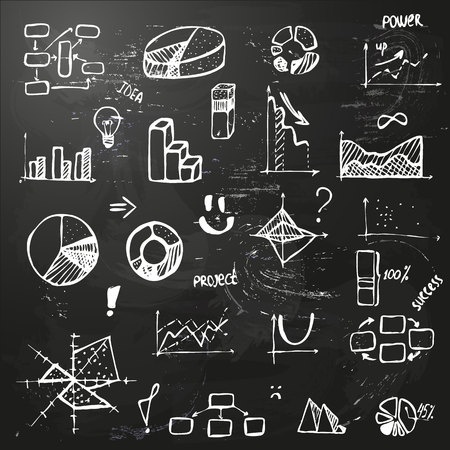 set of hand drawing business diagram on blackboard (histogram, pie chart, graph of a function, scatter plot, network and block diagrams, radar chart) with words success, project, idea, power