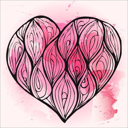 vector of hand drawing heart decorated with waves on a red and pink watercolor background Ilustração
